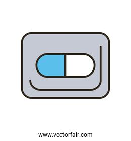 Medical pill line and fill style icon vector design