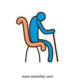 grandfather avatar with walking stick on chair line and fill style icon vector design
