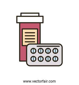 Medical pills jar line and fill style icon vector design