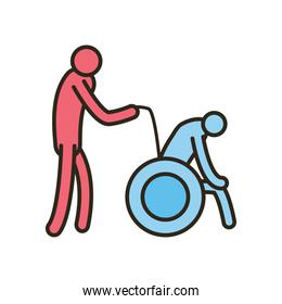 Isolated grandfather avatar on wheelchair with nurse line and fill style icon vector design
