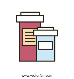 Medical pills jars line and fill style icon vector design