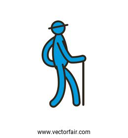 grandfather avatar with walking stick line and fill style icon vector design