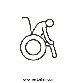 Isolated grandfather avatar on wheelchair line style icon vector design