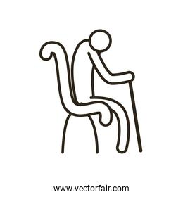 grandfather avatar with walking stick on chair line style icon vector design
