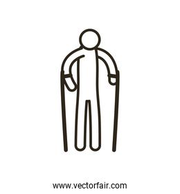grandfather avatar with walking stick line style icon vector design