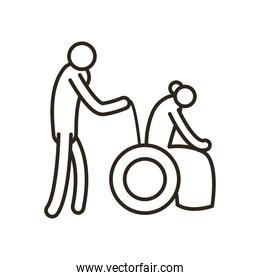 Grandmother on wheelchair and nurse line style icon vector design