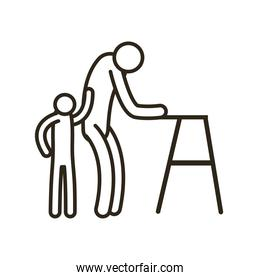 grandfather avatar with walker and grandson line style icon vector design