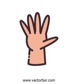 open gesture with hand line and fill style icon vector design