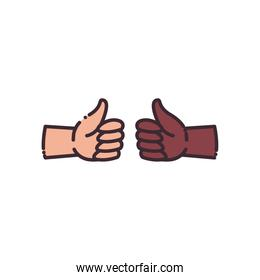 like gesture with hands line and fill style icon vector design
