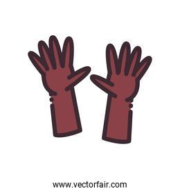 open gesture with hands line and fill style icon vector design