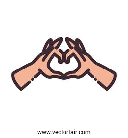 heart gesture with hands line and fill style icon vector design