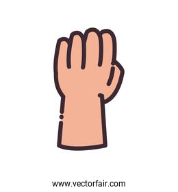 fist gesture with hand line and fill style icon vector design