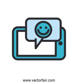Happy emoji face in bubble in front of smartphone line and fill style icon vector design