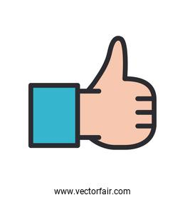 like gesture with hand line and fill style icon vector design