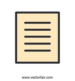 document paper line and fill style icon vector design