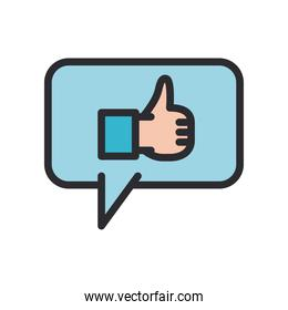 like gesture with hand in bubble line and fill style icon vector design