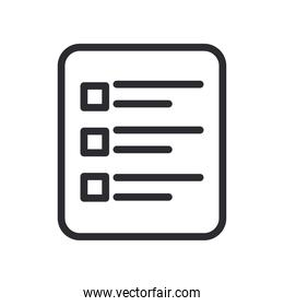 document with options line style icon vector design