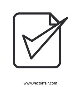 Check mark on document line style icon vector design