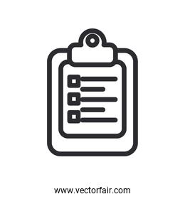 document board with options line style icon vector design