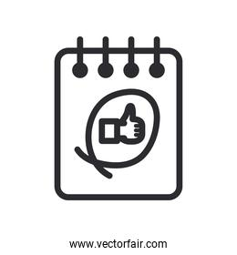 like gesture with hand on notebook line style icon vector design