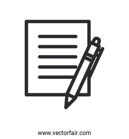 pen and document line style icon vector design