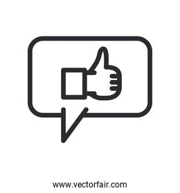 like gesture with hand in bubble line style icon vector design