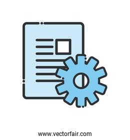 document with gear line and fill style icon vector design