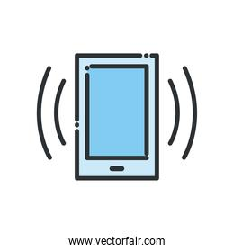 Smartphone with signal line and fill style icon vector design