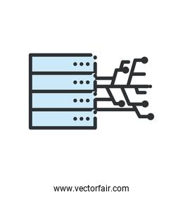 Web hosting with circuit line and fill style icon vector design
