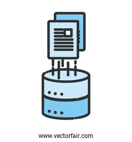 Web hosting with document line and fill style icon vector design