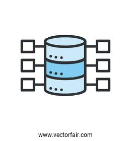 Web hosting line and fill style icon vector design