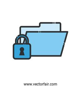 file and padlock line and fill style icon vector design