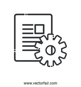 document with gear line style icon