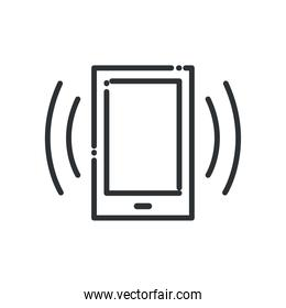 Smartphone with signal line style icon vector design