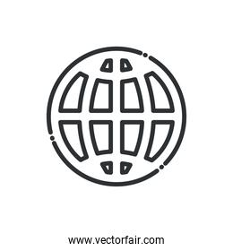 Global sphere line style icon vector design