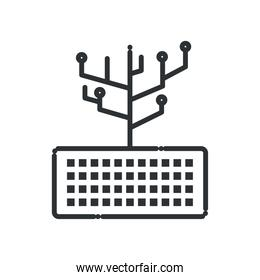 Keyboard with circuit line style icon vector design