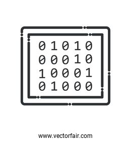 Big data code numbers line style icon vector design