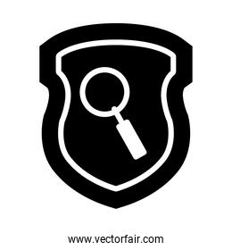 shield with magnifying glass icon, silhouette style