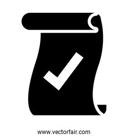 parchment with check mark icon, silhouette style