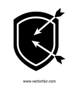 shield with arrows icon silhouette  style