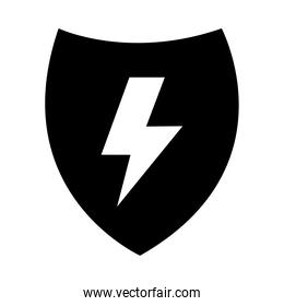 shield with thunder icon, half line half color style