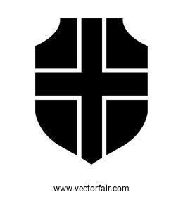shield with crossed design, silhouette style