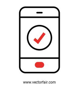 smartphone with check mark icon, half line half color style