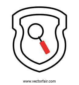 shield with magnifying glass icon, half line half color style