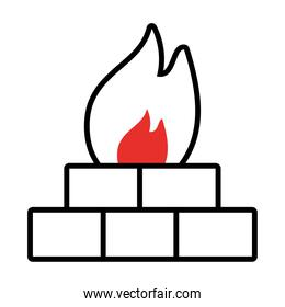 firewall symbol, bricks with fire flame icon, half line half color style