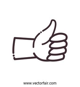 like gesture with hand line style icon vector design