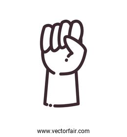 fist gesture with hand line style icon vector design