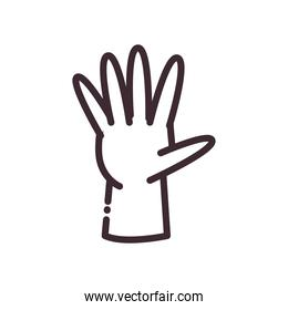 open gesture with hand line style icon vector design