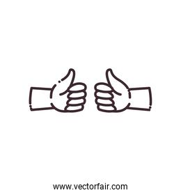 like gesture with hands line style icon vector design