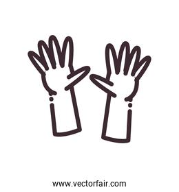 open gesture with hands line style icon vector design